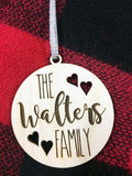 Wooden Rustic Farmhouse Family Christmas Ornament