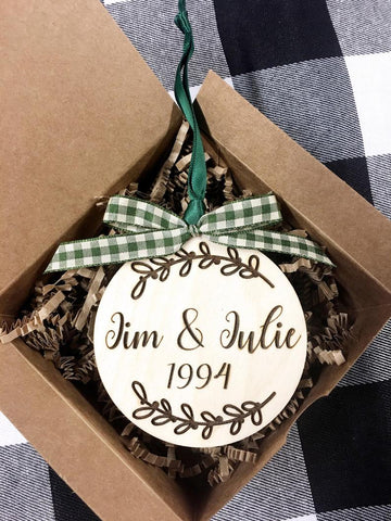 Wooden Rustic Engraved Farmhouse Couples Ornament