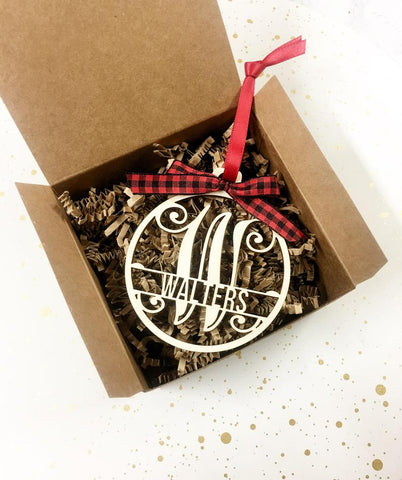 Monogrammed Wooden Christmas Ornament - Laser Cut Personalized Family Ornament