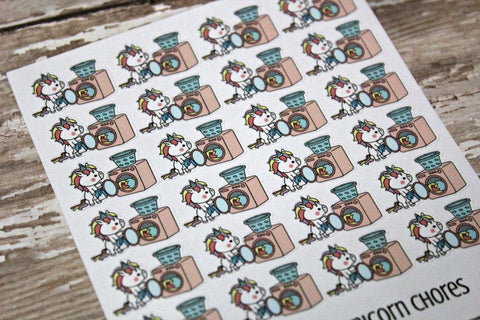 Unicorn chore Planner Stickers - Laundry Stickers