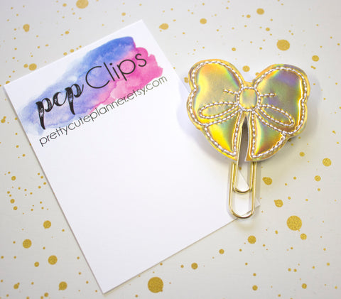 Holo Gold Bow Planner Clip