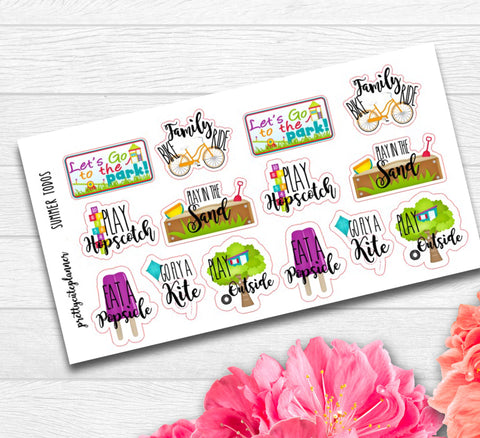Summer Bucket List Planner Stickers