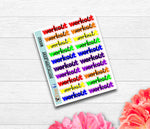 Script Rainbow Workout Planner Stickers