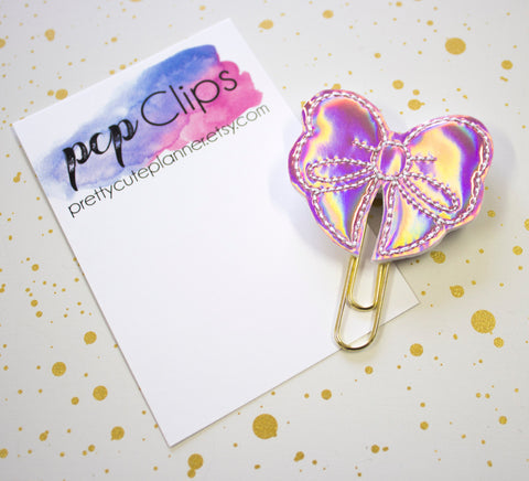 Rose Gold Holographic Bow Planner Clip