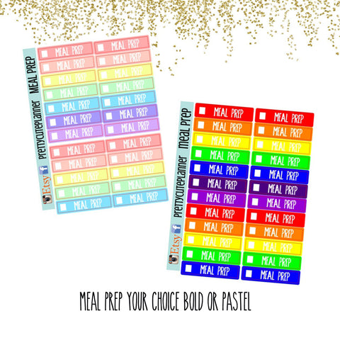 Rainbow MEAL PREP tracker boxes Planner Stickers