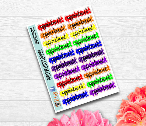 Script Rainbow Appointment Planner Stickers