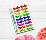 Script Rainbow To Do Planner Stickers