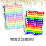 Rainbow PM ROUTINE tracker boxes Planner Stickers