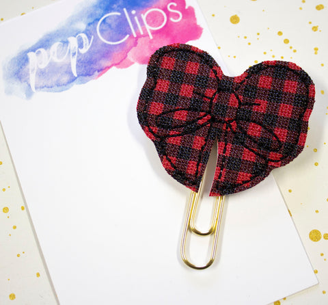 Buffalo Plaid Planner Clip - Red and Black Mini Plaid Clip