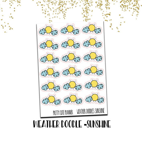 Doodle Weather Planner Stickers Sunshine