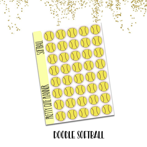 Doodle Softball Game Practice Planner Stickers