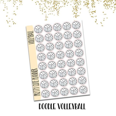 Doodle Volleyball Planner Stickers