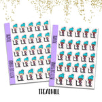 F194-F195 Doodle Girl Treadmill planner Stickers - Workout