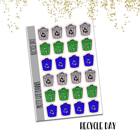 Doodle Recycle Trash Day Planner Stickers