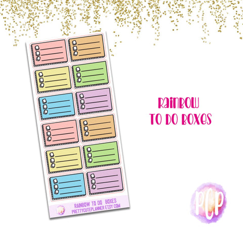 Rainbow To Do Checklist boxes