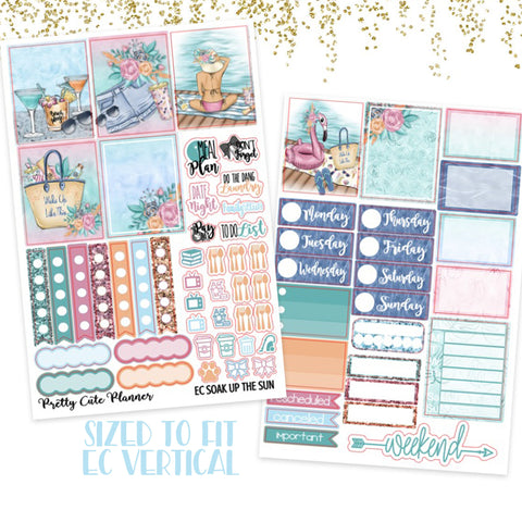 "1.5"" Standard Vertical  Soak up the Sun Weekly Planner Stickers"