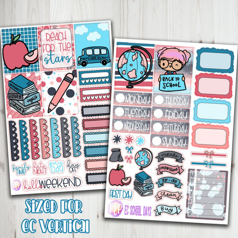 "1.5"" Standard Vertical  School Days Weekly Planner Sticker"