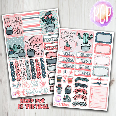 "1.5"" Standard Vertical  Prickly but Sweet Weekly Planner Stickers"