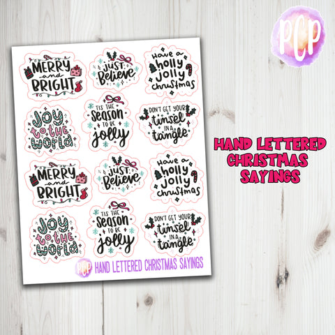 Hand Lettered Christmas Quote Stickers
