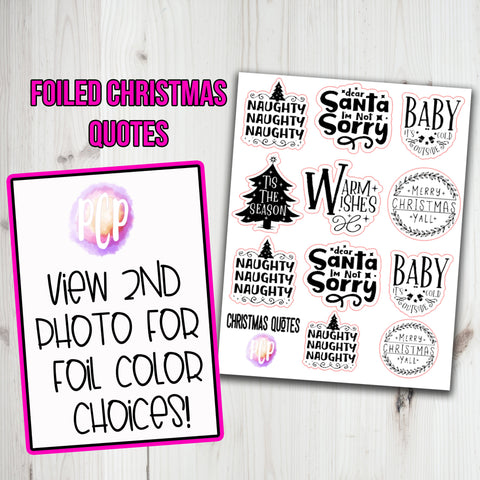 Foiled Christmas Quote Stickers Version 2