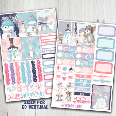 "1.5"" Standard Vertical  Winter Friends Weekly planner stickers"