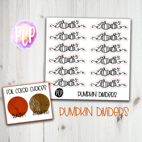 Foil Pumpkin Divider stickers