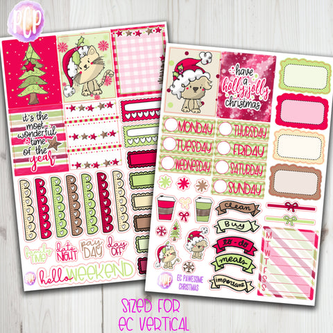 "1.5"" Standard Vertical  Pawesome Christmas Weekly Planner Stickers"