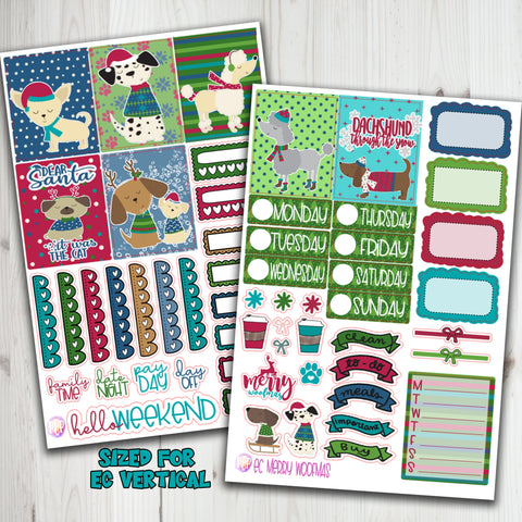 "1.5"" Standard Vertical  Merry Woofmas Weekly planner stickers"