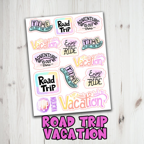 Doodle Road Trip Stickers - Road Trip Quotes