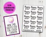 Foiled Stickers Script Happy Birthday