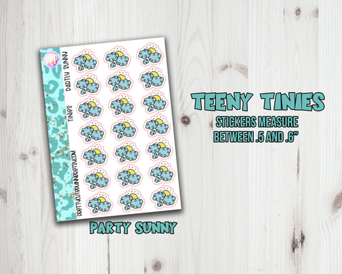 Teeny Tiny Weather Planner Stickers - Partly Sunny