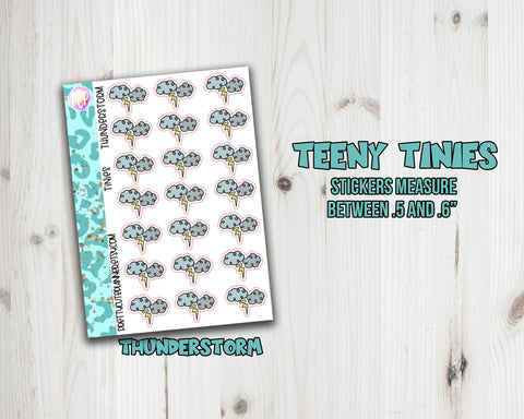 Teeny Tiny Weather Planner stickers -  Thunderstorm Rain
