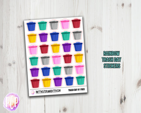 F003 Trash Day Planner Stickers - Trash Can Icon
