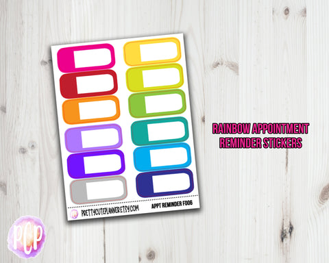 Rainbow Appointment Reminder Planner Stickers