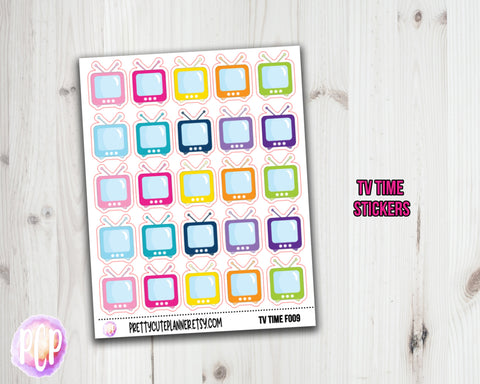Retro TV Planner Stickers - TV icons
