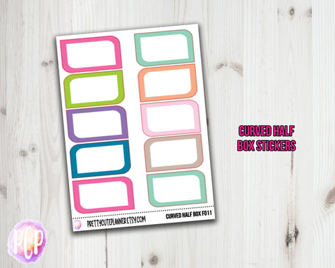 Curved Half Box Planner Stickers