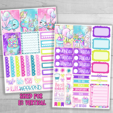 EC vertical happy birthday weekly planner stickers
