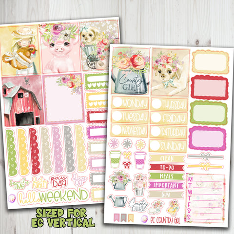 EC Vertical Country Girl Weekly Planner Stickers