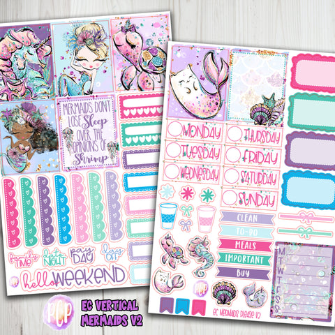 "1.5"" Standard Vertical  Mermaid Weekly Planner Stickers"