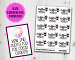 Foiled Script Stickers Coffee Monday