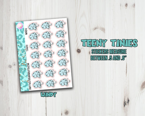 Teeny Tiny Weather Planner Stickers - Windy Day