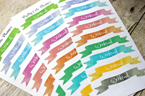 Weekend Banner Planner Stickers - Version 3