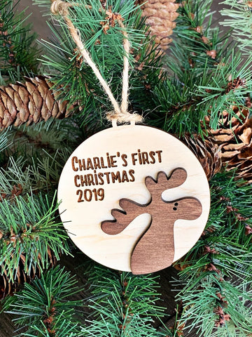 Personalized First Christmas Ornament - Moose Baby's First Christmas - Bear Baby's First Christmas