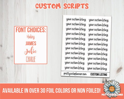 Custom Script Stickers Foil Or Non Foil