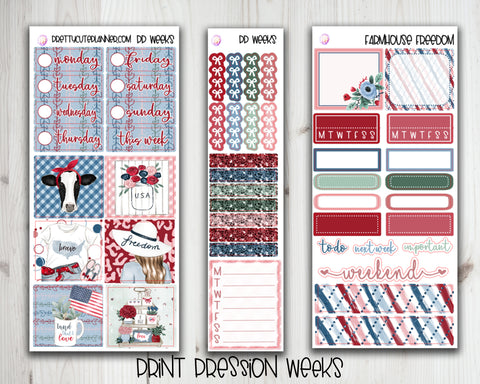 PP Weeks Farmhouse Freedom Planner Stickers