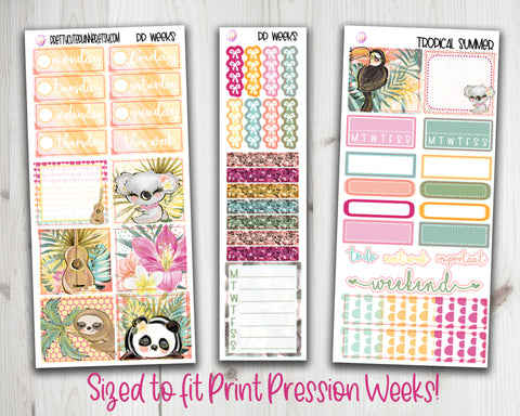 PP Weeks Tropical Summer Planner Stickers
