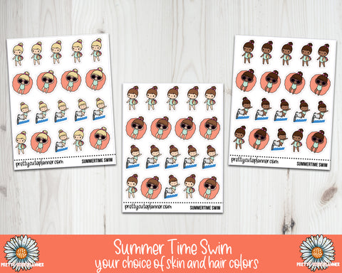 Doodle Girl Summertime Swimming Pool Day Stickers