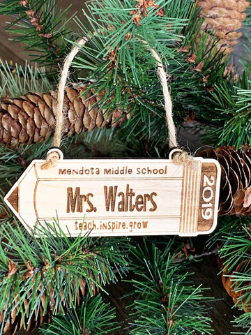 Personalized Teacher Christmas Ornament - Laser Engraved Ornament