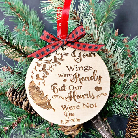 Memorial Ornament - In Loving Memory - Your Wings were Ready Christmas Ornament