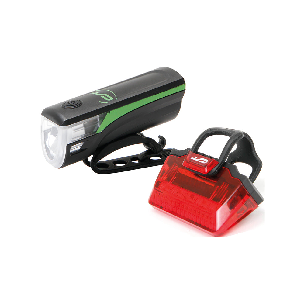 Batterielicht-Set Contec Speed-LED USB, schwarz / neogreen